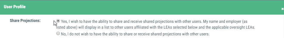 Image of share setting set to yes on the 'My Profile' screen